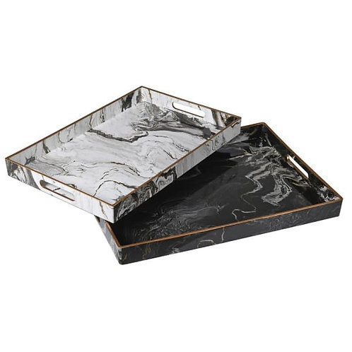 Marble Effect Trays - Set of 2