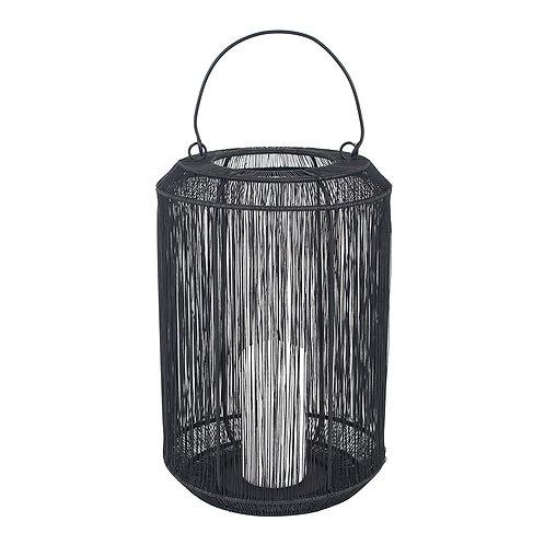 Matt Black Mesh& Metal Round Lantern - Large