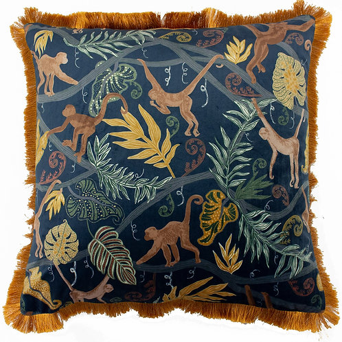 Midnight Monkey Forest Cushion