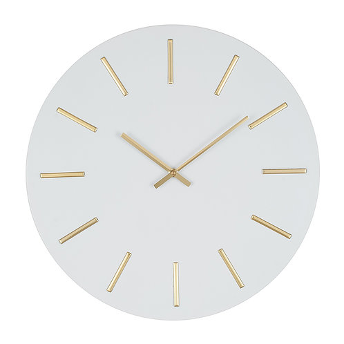White & Gold Large Wall Clock