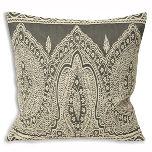 Paisley Print Cushion Grey