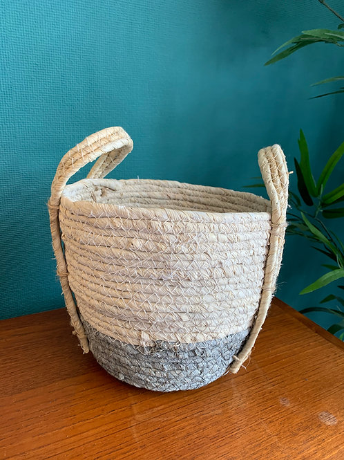 Small Grey & White Seagrass Basket