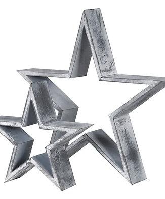Set of 2 Grey Wooden Stars