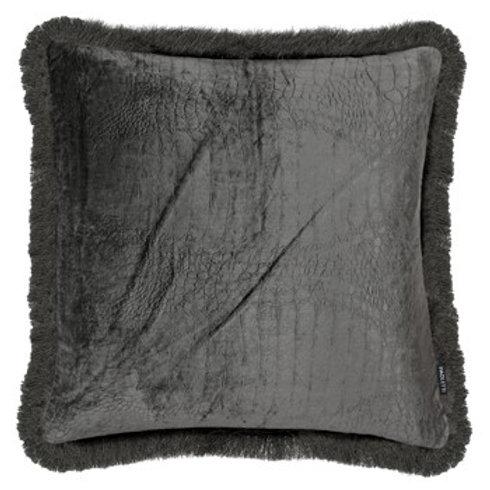 Croc Velvet Cushion - Grey