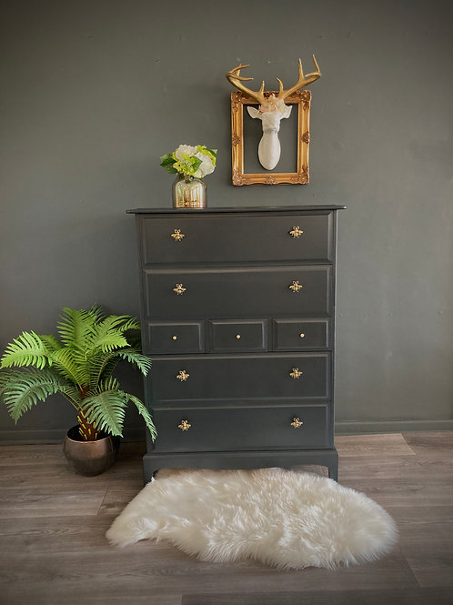 """Delilah""Vintage Stag Chest of Drawers"