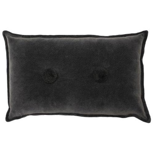 Button Velvet Cushion - Grey