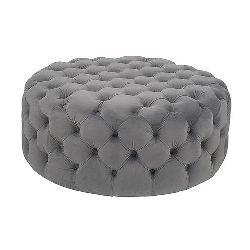 Buttoned Velvet Pouffe - Grey