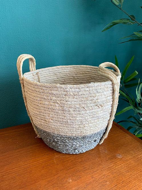 Medium Grey & White Seagrass Basket