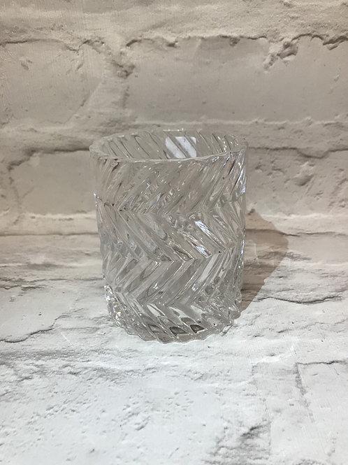 Clear Textured Glass Tealight Holder