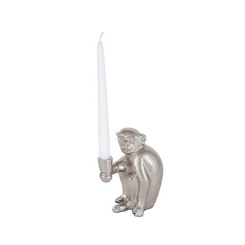 Silver Metal Monkey Candlestick