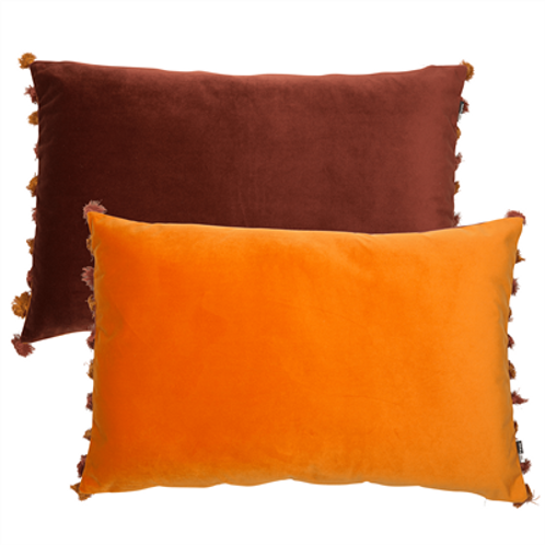 Tassel Velvet Cushion - Wine & Rust