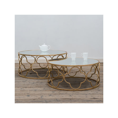 Gold leaf & mirror top ornate set of 2 coffee tables