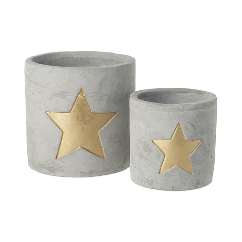Small Cement Cut out Star Tealight Holder