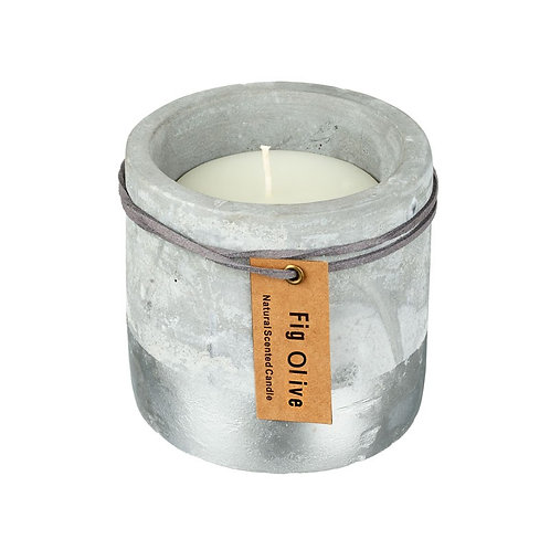 Large Concrete Half Silver Dipped Candle