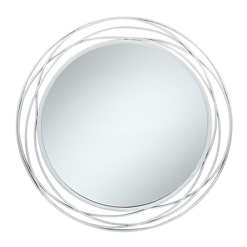 Silver Leaf Circles Large Mirror
