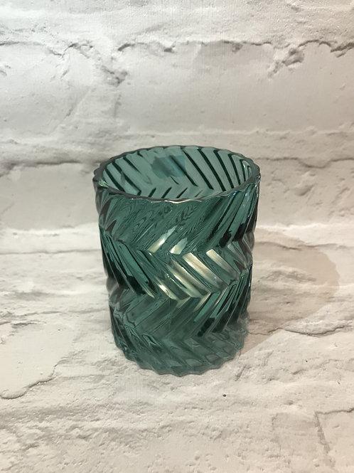 Teal Textured Glass Tealight Holder