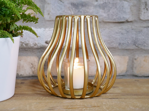 Small gold wire tealight candle holder
