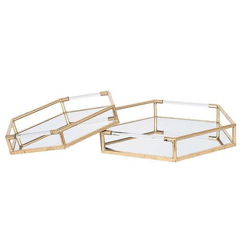 Gold Mirror Set of 2 Trays