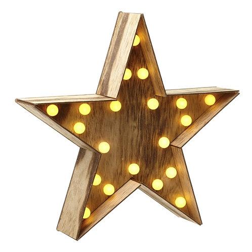 Wooden Star Bulb Light