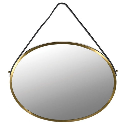 Brass Oval Mirror with Strap