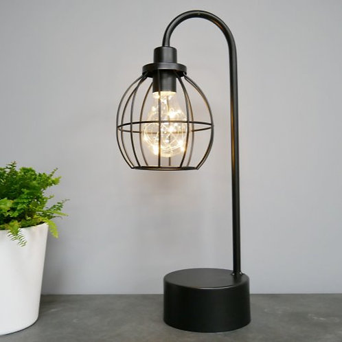 Black wire battery powered cage lamp