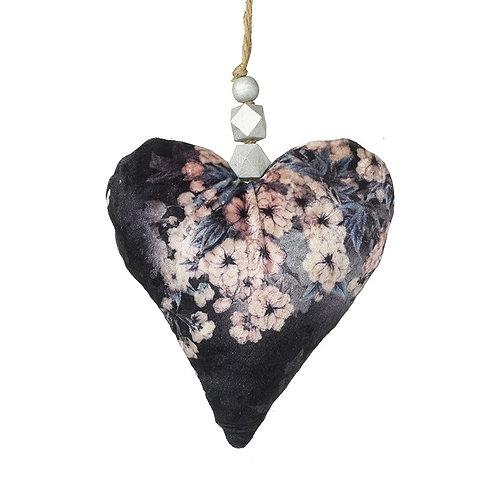 Velvet Floral Hanging Heart