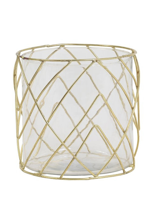 Large Gold Wire Candle Holder