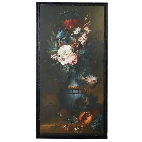 Large Dark Floral Framed Picture