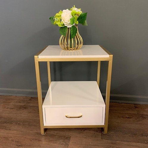 White Gloss and Gold Bedside Side Table