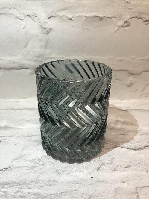 Green Textured Glass Tealight Holder