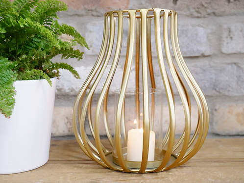 Large gold wire tealight candle holder