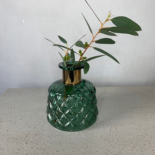 Green & gold quilted vase