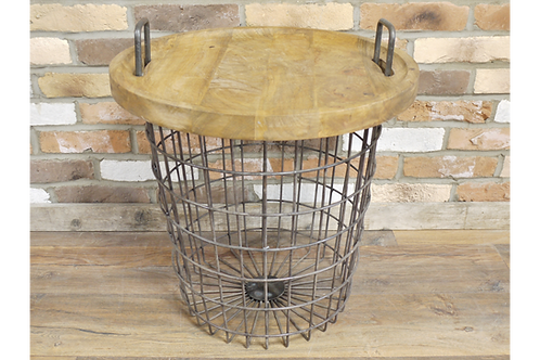 Basket Table with Storage