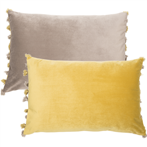 Tassel Velvet Cushion - Grey & Mustard