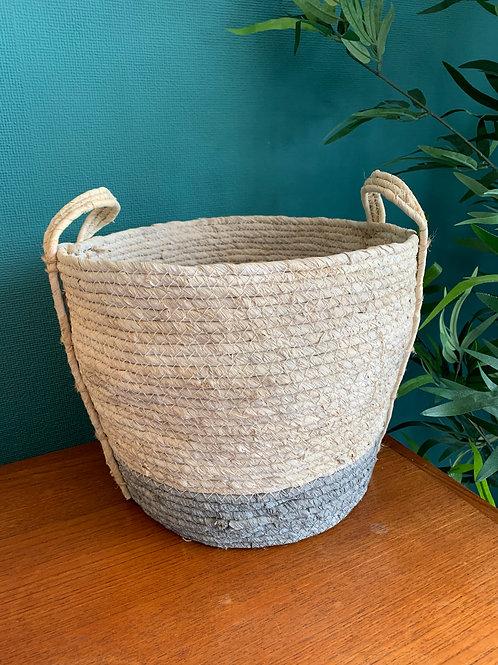 Large Grey & White Seagrass Basket