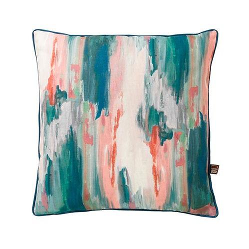 Brindle Teal & Blush Cushion