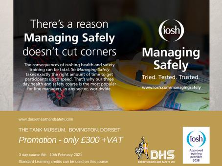 IOSH MANAGING SAFELY COURSE - BOVINGTON, DORSET FEB 2021