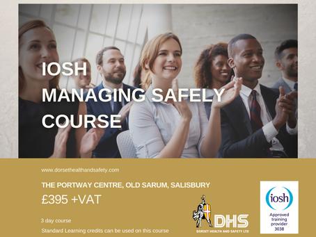 IOSH MANAGING SAFELY COURSE - SALISBURY, WILTSHIRE DECEMBER