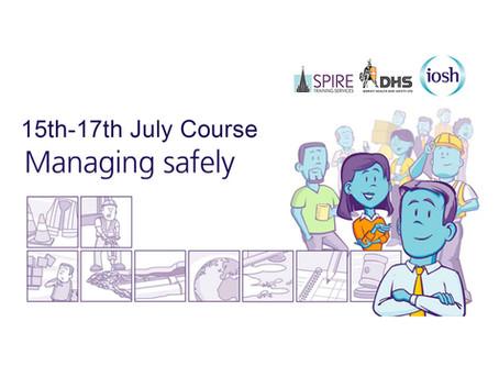 IOSH MANAGING SAFELY COURSE, SALISBURY, JULY 2019