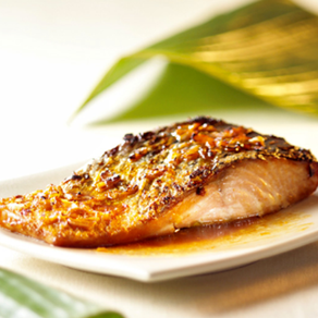 Pavé de saumon miel moutarde