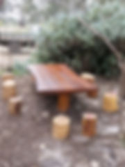 Custom timber playground table and chairs