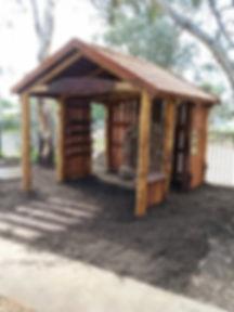 Custom timber playground hut