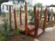 Custom timber playground bridge
