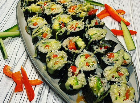 Spicy Cucumber, Avocado, Red Pepper Sushi Rolls
