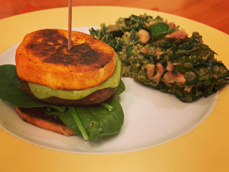 Gluten Free Black Bean Burgers with Sweet Potato Buns
