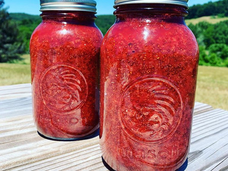 Strawberry, Beet, Chia Seed Jam