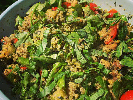 Basil Pesto Quinoa Salad