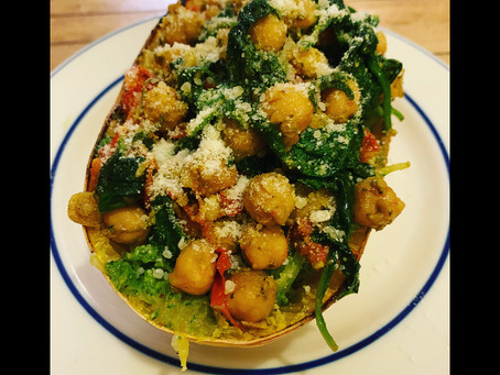 Spinach Pesto Chickpea Stuffed Spaghetti Squash Boats