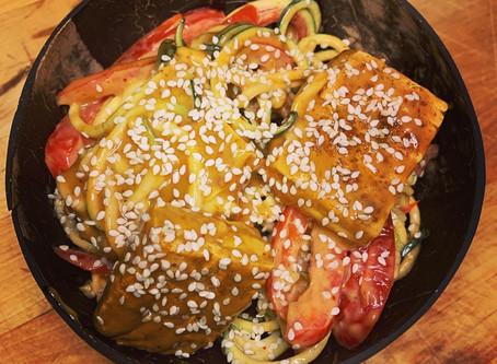 Raw Peanut Zucchini Noodles with Tofu Steak