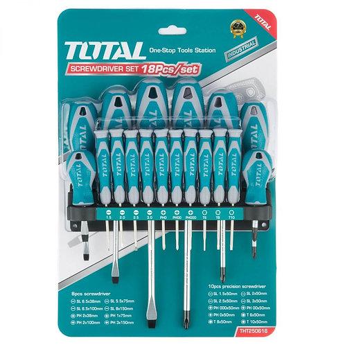 Total THT250618 Screwdriver Set 18 Pcs | طقم مفكات توتال ١٨ قطعة متنوعة صلب